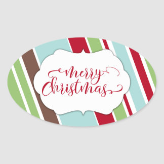 Red Merry Christmas Typography w/ Diagonal Stripes Oval Sticker