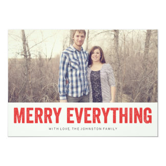 """Red Merry Everything Christmas Photo Flat Cards 5"""" X 7"""" Invitation Card"""