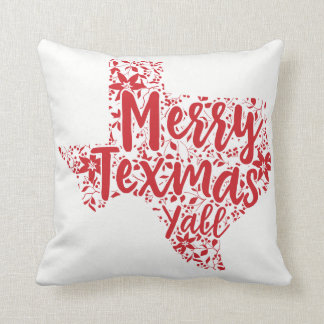 Red Merry Texmas Y'all Texas Christmas Pillow