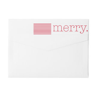 Red Merry Type Holiday Return Address Label