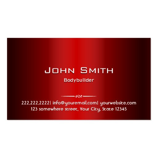Red Metal Bodybuilding Business Card