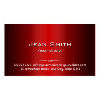Red Metal Yoga instructor Business Card