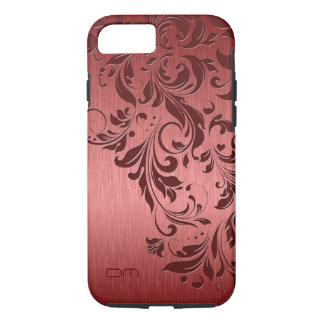 Red Metallic Brushed Aluminum & Burgundy Lace iPhone 8/7 Case