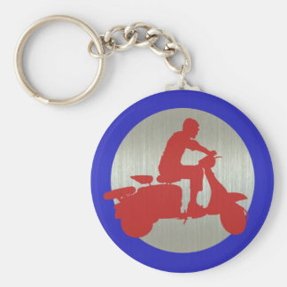 Red Metallic Scooter Rider Target Keychain