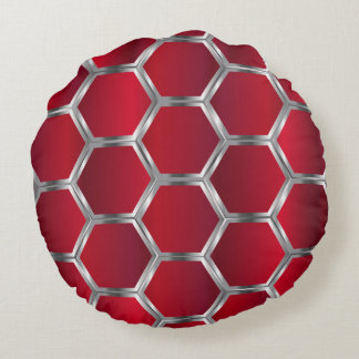 Red & Metallic Silver Geometric Pattern Round Pillow