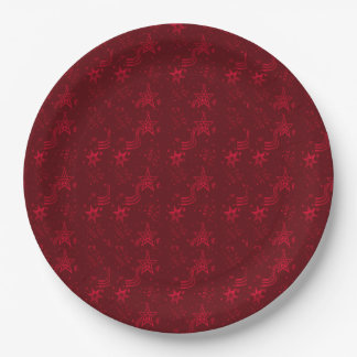 Red Metallic Stars- PAPER PARTY PLATES 9 Inch Paper Plate