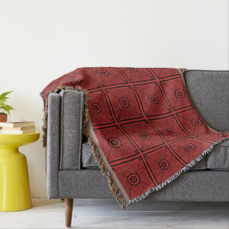 Red Mexican Aztec Sun Pattern Throw Blanket