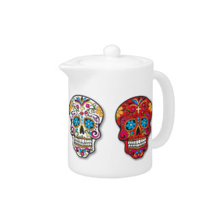 Red Mexican Sugar Skull Day of the Dead