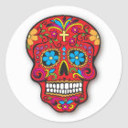 Red Mexican Sugar Skull Day of the Dead Classic Round Sticker