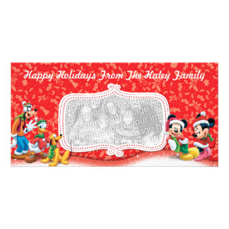 Red Mickey Friends Holiday Photo Card