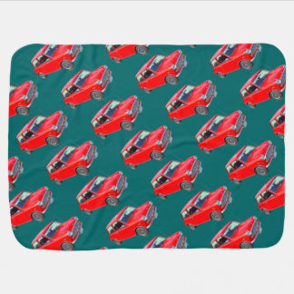 Red Mini Cooper Antique Car Baby Blanket