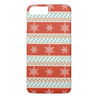 Red Mint Stripes Snowflakes Pattern iPhone 8 Plus/7 Plus Case