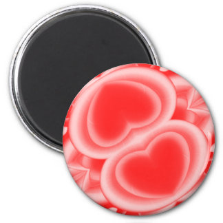 Red Mirrored Hearts 2 Inch Round Magnet