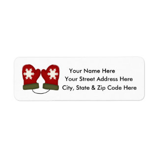 Red Mittens Christmas Return Address Labels