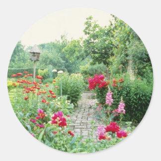 Red Mixed Cottage Garden - Peony, Pyrethrum, Alliu Classic Round Sticker