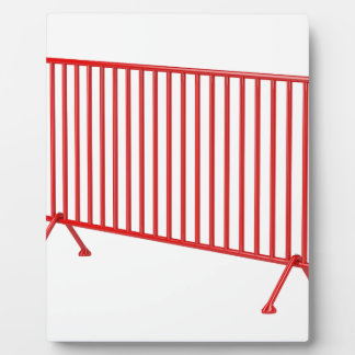 Red mobile fence plaque