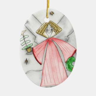 Red Mod Angel Ceramic Ornament