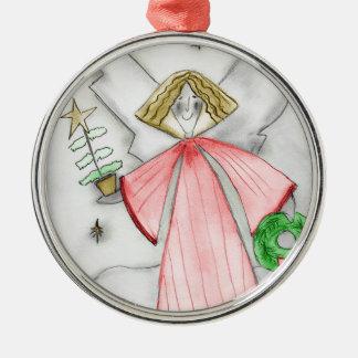 Red Mod Angel Metal Ornament