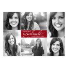 Red Modern 6 Photo Script Graduation Invite