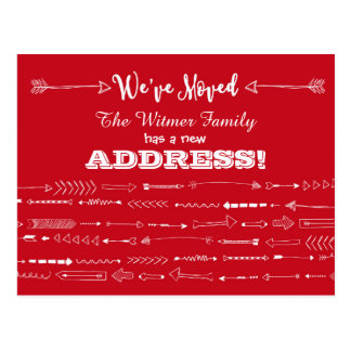 Red Modern Arrows Doodles Moving Announcement Postcard