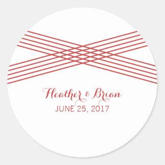 Red Modern Deco Wedding Stickers Round Sticker