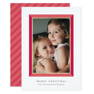 Red Modern Frame Christmas Photo Card