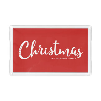 RED | Modern Merry Christmas Acrylic Tray