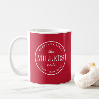 RED | Modern Merry Christmas and Happy New Year Coffee Mug