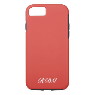 Red Modern Professional White Monogram iPhone 8/7 Case