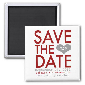 Red Modern Save the Date Magnet