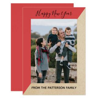Red Modern Slant New Year's Photo Flat Card