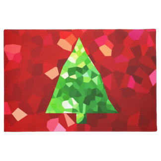 Red Modern Stained Glass Holiday Christmas Tree Doormat