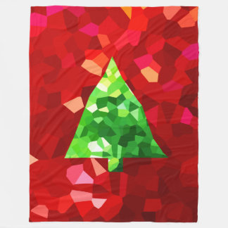 Red Modern Stained Glass Holiday Christmas Tree Fleece Blanket