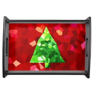 Red Modern Stained Glass Holiday Christmas Tree Serving Tray