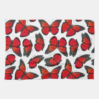 Red Monarch Butterfly Pattern Towel