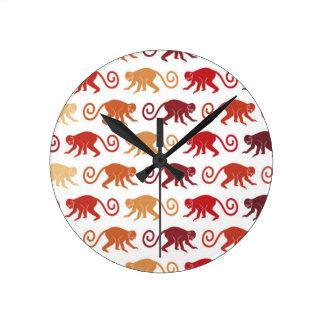 Red Monkeys Pattern Clocks