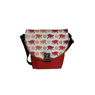 Red Monkeys Pattern Commuter Bags