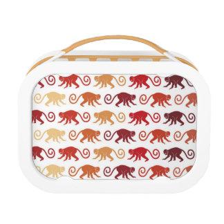 Red Monkeys Pattern Lunch Box