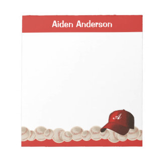 Red Monogram Baseball Cap Notepad