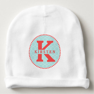 Red Monogram + Blue Quatrefoil Baby Beanie