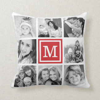 Red Monogram Instagram Photo Collage Throw Pillow
