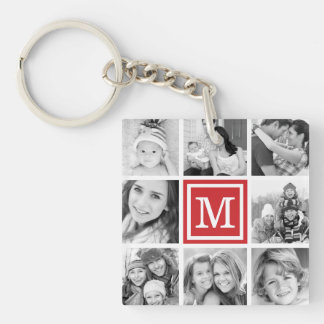 Red Monogram Photo Collage Keychain
