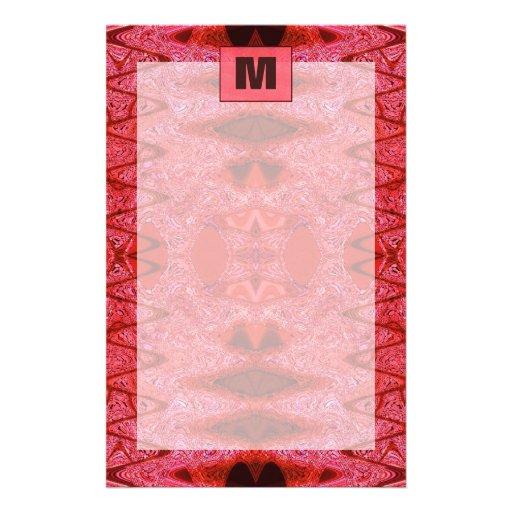 red monogram stationery paper