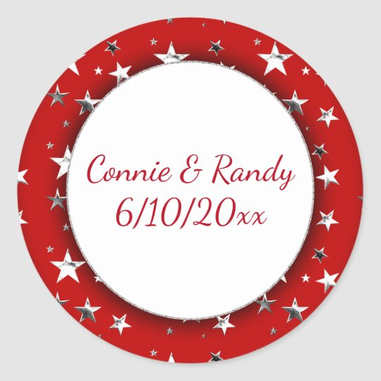 Red Monogram Sticker with Silver Stars