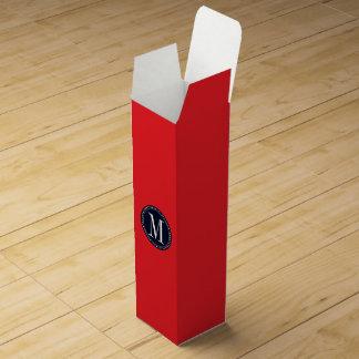 Red monogram template wine box