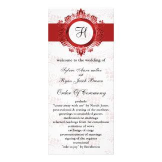 red monogram Wedding program Full Color Rack Card