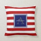 Red Monogrammed Awning Stripe Throw Pillow