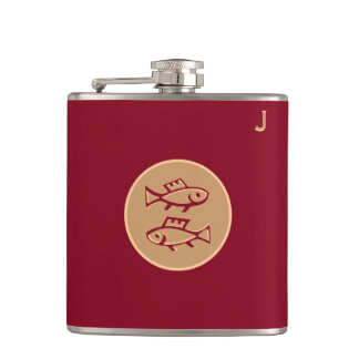 Red Monogrammed Flask - Zodiac - Pisces