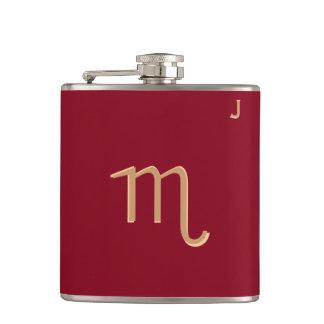 Red Monogrammed Flask - Zodiac - Scorpio