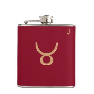 Red Monogrammed Flask - Zodiac - Taurus